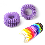Set of 3 hair bobbles/hair scrunchies Bobbles Elastic Hair Bands (Plastic Spiral) Telephone Wire Shape Hair Tie, Colour