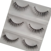 DE'LANCI 3 Pairs Natural Handmade Thick False Eyelashes Eye Lashes Makeup Extension Beauty Tools