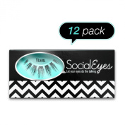 SocialEyes Vixen Lashes Natural Fake False Eyelashes Eye Lashes Black 12 Packs
