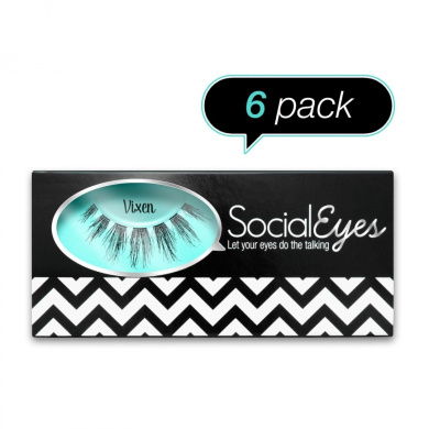 SocialEyes Vixen Lashes Natural Fake False Eyelashes Eye Lashes Black 6 Packs