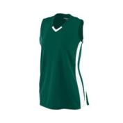 Girl's Wicking Mesh Powerhouse Jersey - 528 - Dark Green/White - S