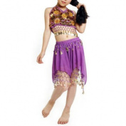 Kid Egyptian Belly Dance Costume, Skirt & Halter Top Sets, Purple