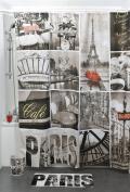 Printed Shower Curtain CAFE PARIS Polyester Grey 71''W x 79''L/ 180 x 200cm