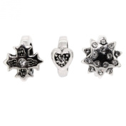 Link Up Sterling Silver Cross Heart Charm Set of 3