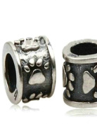 Women's Bead Intermediate Element with Paw for Pandora Jewellery or Similar, 100% 925 Sterling Silver