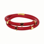 Link Up 2 Row Leather Cord Red Charm Blet