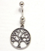 PALETTI Steel Belly Bar with Hanging Tree Of Life Pendant Bar Length 10 mm/Bar Stronger 1.6 mm
