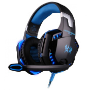 BlueBeach® G2000 3.5mm Stereo Gaming LED Lighting Over-Ear Headphone Headset Headband with Mic for PC Computer Game With Noise Cancelling & Volume