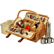 Picnic at Ascot Sussex Picnic Basket for 2 with Coffee, Wicker/London Plaid