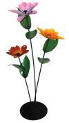 Steven Cooper Metalsmith ATRIPLONG-AST High Triple Stem Flowers on Steel Base, 80cm , Assorted