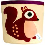 "LifenewBaby Cartoon Animals Housed Barrels Cotton Canvas Storage Bin Bag Children Toys Pouch Kids Organisers Box Folding Laundry Basket Clothes Holder 17.5""*17""/44.5*43cm-Squirrel"