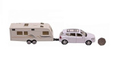 White 4wd Model Car Featuring Opening Doors With Caravan - Diecast + Plastic Model - 1:40 Scale