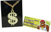 Fancy Party Costume Bling Accessory 1980s Dollar Medallion On Chain Necklace Uk