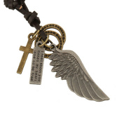 Vintage Antique Angel Wing Pendant Mens Womens Leather Necklace Charms