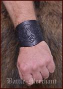 Leather Arm Protectors with Thor's Hammer, Short Sleeves-Bracelet LARP Viking Mediaeval