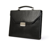 A4 Letter-Size Paper Black Executive Leather Attache-Style Padfolio Briefcase