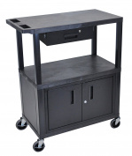 Luxor 3 Flat Shelves W/ Cabinet & Drawer Black Presentation Station