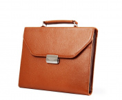 A4 Letter-Size Paper Brown Executive Leather Attache-Style Padfolio Briefcase