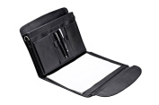 Executive Padfolio Case with Handle, Shoulder Strap and Expanding File Pockets, Black