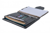 Premium Suede Leather Organiser Folio Binder for Left-Hand or Right-Hand Use, Grey
