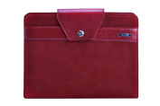 Premium Suede Leather Organiser Folio Binder for Left-Hand or Right-Hand Use, Red
