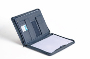 Professional Linen-Look Organiser Padfolio for 28cm Laptop, Left-Hand or Right-Hand Use XZ-1160-Grey