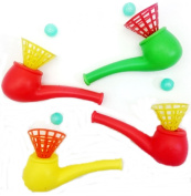 4 Blow Pipes & Balls Blower Plastic Toys Pinata Party Gift Loot Bag Filler Wedding Kid Child Activity Racing Game Birthday Girl Boy