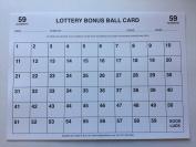 1 - 59 Bonus Ball Card, Lottery Bonus Ball Fundraising Cards, A4 size - 5 Pack
