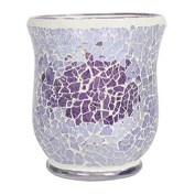 Village Candle Hurricane Lilac Lustre Crackle Mosaic Candle Holder 11cm