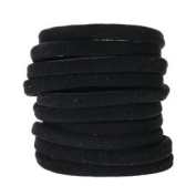 Mytoptrendz® 10 Pcs Thick Black Hair Elastics Thick Velvet Feel No Metal Snag free Soft Gentle Ponio Bobble Hair Accessories