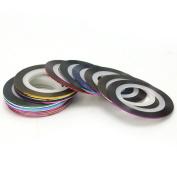 Women 30Pcs Mixed Colours Roll Striping Tape Line Nail Art Decoration Sticker New