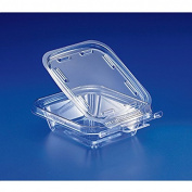Safe T Fresh Tamper Evident 240ml Plastic Clear Hinged Container with Hanger/Case of 240