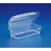 8 x 4 x 3 Plastic Hoagie Clear Hinged Lid Containers/Case of 300