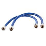 2 x 1/2NPT Thread Flexible Shower Hose Water Heater Tube Pipe Blue 50cm