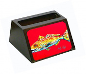 Fish - Red Fish Alphonzo Decorative Desktop Professional Wooden Business Card Holder MW1084BCH