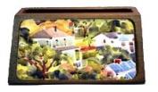 Yellow Cottage Houses Decorative Desktop Wooden Business Card Holder