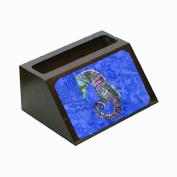 Seahorse Purple and Blue Decorative Desktop Wooden Business Card Holder