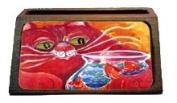 Big Red Cat at the fishbowl Decorative Desktop Wooden Business Card Holder