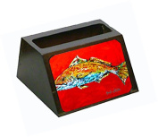 Fish - Red Fish Red Head Decorative Desktop Professional Wooden Business Card Holder MW1111BCH