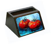 Vegetables - Tomatoes Red Toes Decorative Desktop Professional Wooden Business Card Holder MW1088BCH