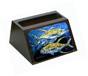 Fish - Tuna Tuna Blue Decorative Desktop Professional Wooden Business Card Holder MW1125BCH