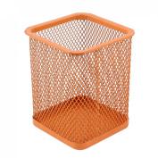 Orange Metal Mesh Cube Shaped Pen Pencil Holder Container