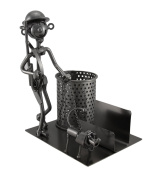 Going Hunting Sculptured Metal Pen and Business Card Holder