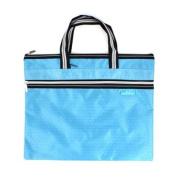 Blue Zipper Closure Double Layers A4 Paper Document File Organiser Handbag