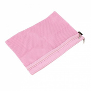 Zipper Closure Net Pattern A4 2 Slots Paper Document Files Organiser Bag Pink