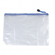 Cheque Pattern Zippered PVC A5 Paper File Folder Bag Holder White