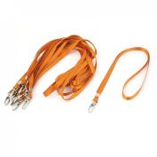 ID Card Name Tag Pass Badge Holder Metal Clip Neck Strap Lanyard Orange 10pcs