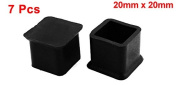20mm x 20mm Square Rubber Chair Table Leg End Caps Furniture Foot Covers 7 Pcs
