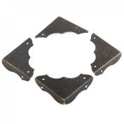Table Desk Metal Retro Style Corner Covers Protector Black 40mmx40mm 4 Pcs