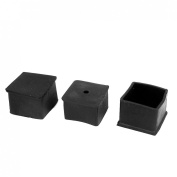 45mm x 45mm Black Rubber Square Furniture Leg Cap Foot Cover Protective Tip 3pcs